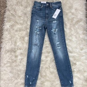 NWT H&M Distressed High Waisted Skinny Jeans